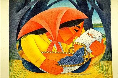 Woman with Blueberries by Patrick DesJarlait