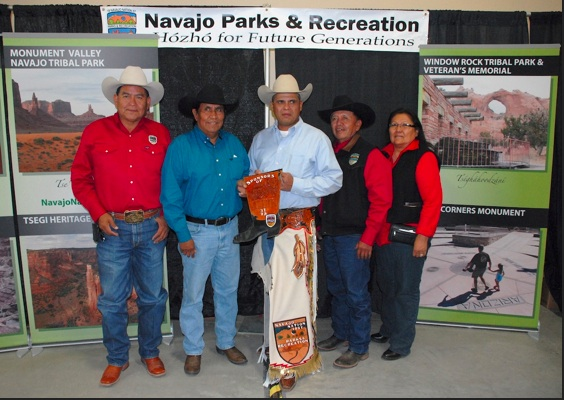 Left to Right- Murray Lee, Martin L. Begaye, Donald Sanchez, Lee Cly, Lynda French. Photo by Geri Hongeva:Navajo Parks & Recreation.