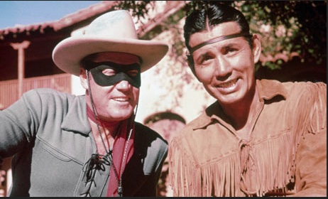 An original version of the Lone Ranger from the 1950s. Tonto is played by Canadian Mohawk First Nations Jay Silverheels.  Photo- Crushable.