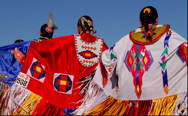 Beautiful Ladies' regalia From the Crow Fair and Rodeo. Photo- Crow site.