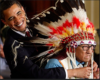 Medal of Freedom is presented to Joseph Medicine Crow by President Barack Obama. Photo- USC