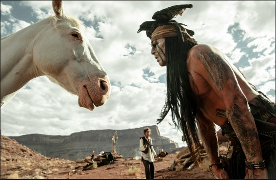 Tonto talking to a horse. Photo- GeekPeeks.