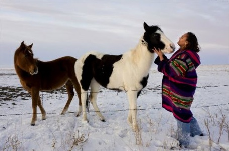 Tinnekkia Williams is a Native American and domestic violence activist who works with women at Standing Rock Reservation in North and South Dakota. (Photo- Getty Images).