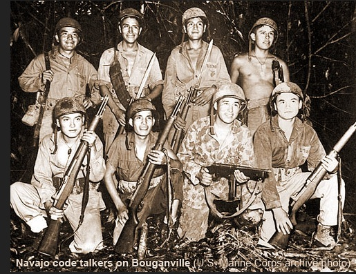 Navajo Code Talkers WW II. Photo- California Indian Education.