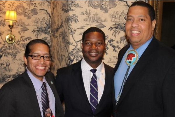 Pictured, from left, are- Aquinnah Chairman T. J. Vanderhoop, the Rev. Jonathan Walton and Mashpee Chairman Cedric Cromwell. ICTNM
