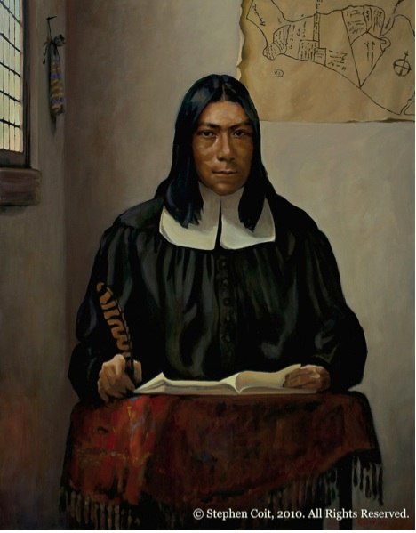 Portrait of Caleb Cheeshahteaumuck, a member of the Wampanoag tribe, and the first Native American to graduate from Harvard College, in 1665. Photo- ICTNM