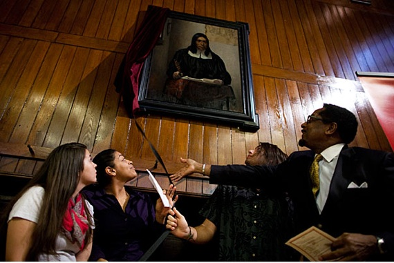The portrait of Caleb Cheeshahteaumuck, a member of the Wampanoag tribe resides in Annenberg Hall.  Photo- Harvard Crimson.