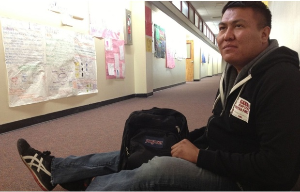 Alray Nelson, (Navajo) at Ganado High School, awarded certificates to teachers he trained to aid bullied LGBT youths. M. Hayoun:Al Jazeera.