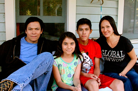 Chaske Spencer, S'Nya Sanchez-Hohenstein, Mauricimo Sanchez-Hohenstein, and Stacey Thunder as the Red Elk family in 'The Jingle Dress.' Photo courtesy The Jingle Dress.