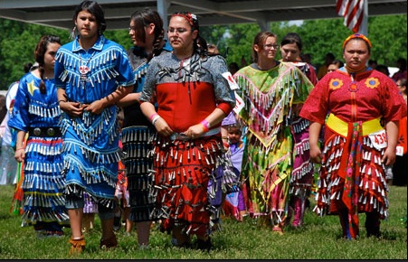Jingle Dress dancers at a White Earth Reservation powwow. MinnPost photo by Steven Date.