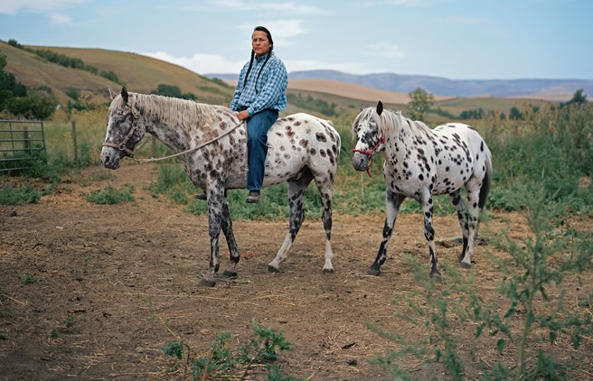 Nakia Williamson rides a cross between an Appaloosa and the hardy Akhal-Teke from Turkmenistan, one of the world's oldest breeds, renowned for courage and endurance. Photograph by Erika Larsen.