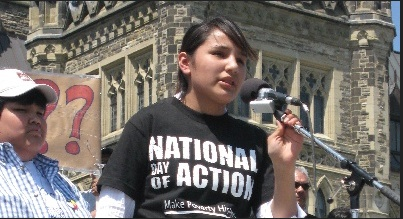 Shannen Koostachin organized students to lobby the government to replace temporary buildings with a new school in her community. Columbia University.