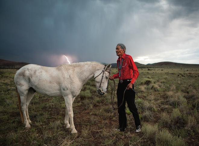 Jones Benally received this gelding, Moonwalker, on the Navajo Nation in Arizona, for his services as a medicine man. Navajos believe lightning is the spark of all creation. Photo by Erika Larsen.