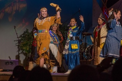 Contestant Megan Leary at the Miss Indian World competition last week. She currently holds the title of Miss World Eskimo Indian Olympics. Tomo for Al Jazeera America.