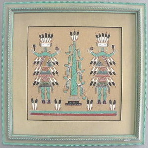 Beautiful Original Wallace Ben Navajo Sand Painting.
