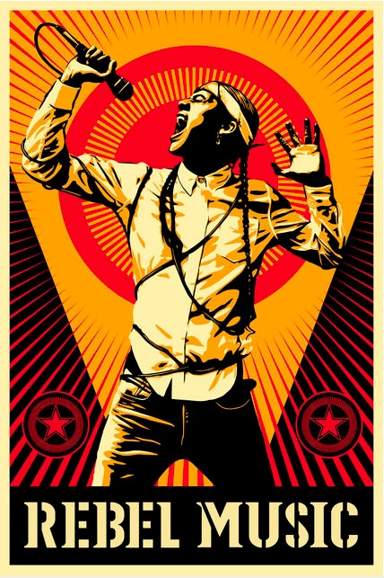 The official poster artwork for the second season of the Rebel Music series was done by Shepard Fairey. Courtesy of MTV World.