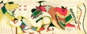 Ledger art by Evans Flammond, Sr. Image courtesy Evans Flammond