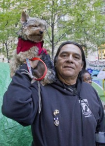 Larry Yepez and Benji talking to the Daily News at the Occupy Wall Street protests in November 2011.