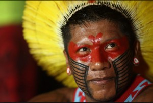 A Kayapo Indian attends the cultural festival of the World Indigenous.Photo- todayonline.