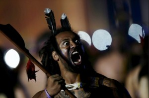 A Maori man from New Zealand dances during the opening ceremony. Photo-ibtimes