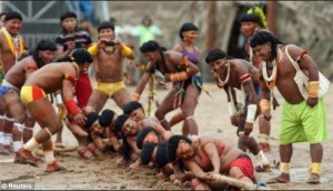 Tough competition- Members of the Brazilian Enawene-Awe indigenous group compete. Photo-dailymail