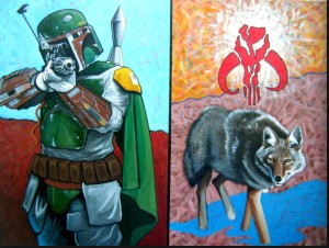 Bounty Hunter and Trickster Encounter, painting by Ryan Singer