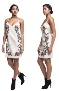 byellowtail embroidered:beaded crow rose micro suede dress