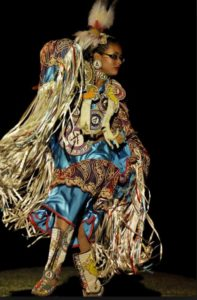 Verna Street Fancy Shawl Spotlight Dance - Mountain Eagle Pow Wow. Photo Marty Thompson Rezboyz Photography.