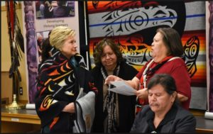 Hillary was honored by the Puyallup Tribe with two powerful gifts- A blanket and a Lushootseed Indian name.