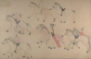 "Drawing by Red Horse, ""Untitled from the Red Horse Pictographic Account of the Battle of the Little Bighorn"" (1881), graphite, colored pencil, and ink."